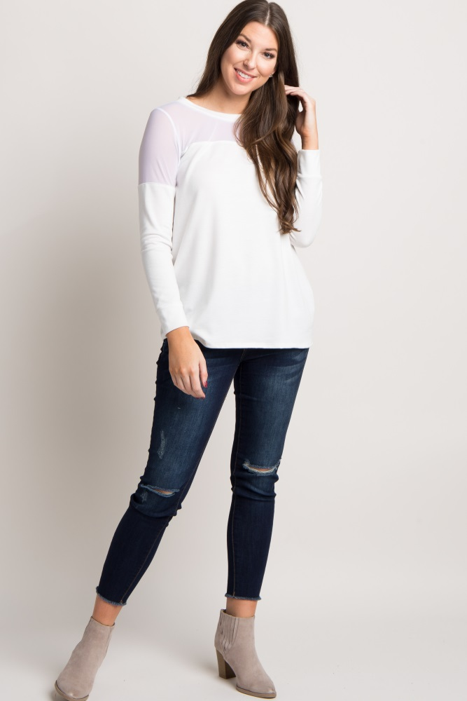 white solid mesh panel long sleeve top