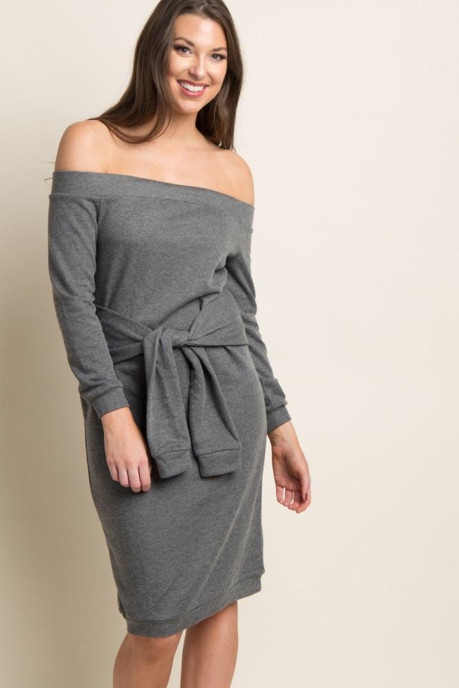 8aff34f648e93 Grey Off Shoulder Mock Sleeve Tie Maternity Sweater Dress
