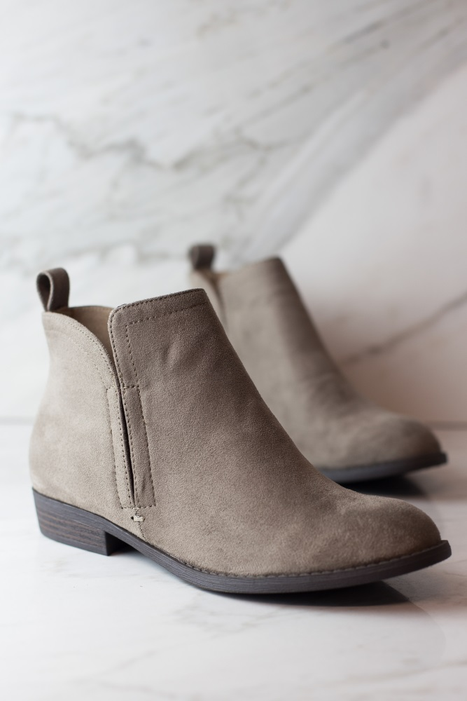 424343252d90 Taupe Faux Suede Low Heel Ankle Boot