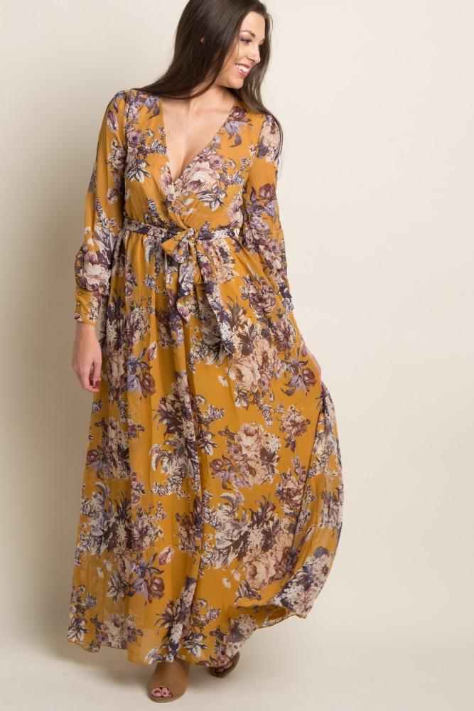 6463b3351ad92 Yellow Floral Print Chiffon Wrap Maxi Dress