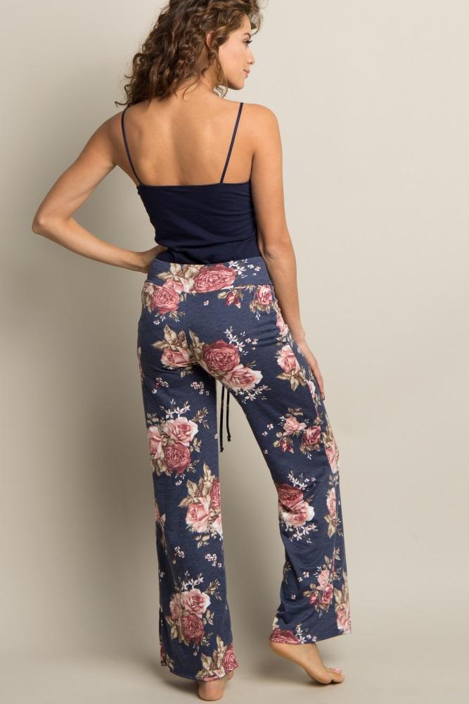 ecb77e42a4d32 Navy Blue Floral Drawstring Maternity Pajama Pants