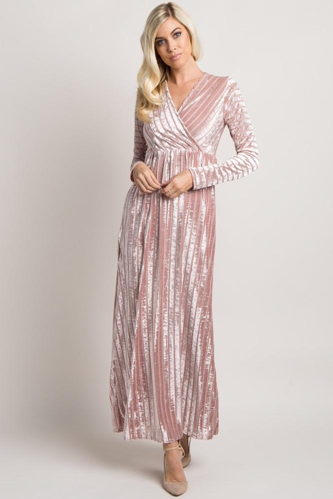 df3c52ef22946 Mauve Striped Velvet Maternity Maxi Dress