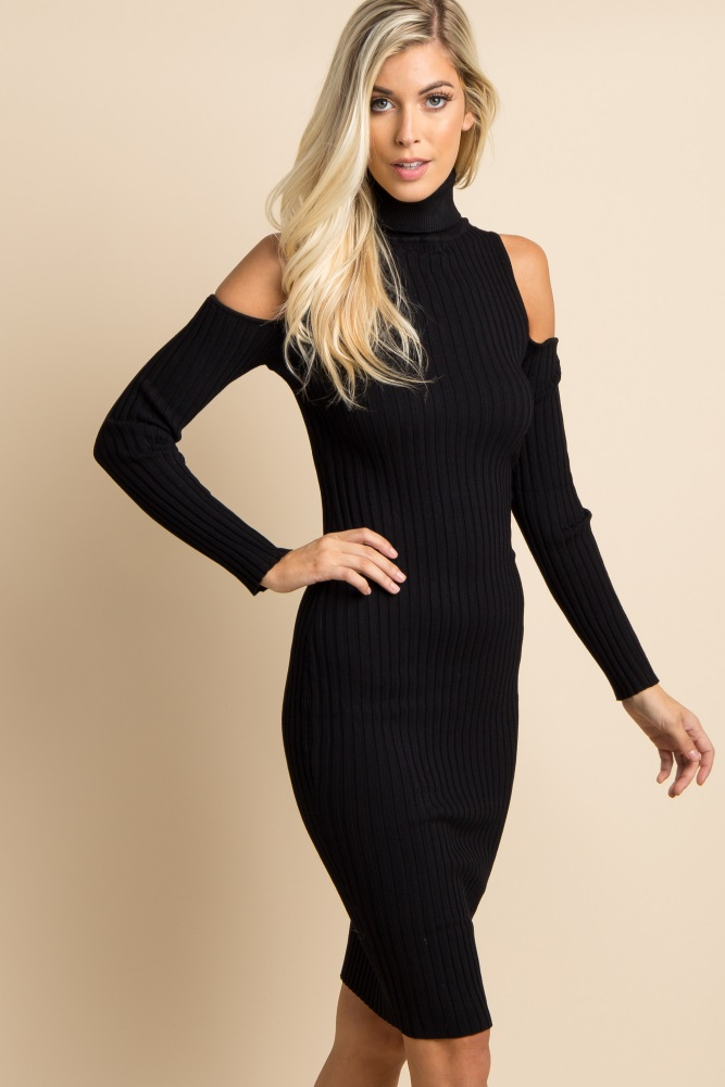 392c016cd7b9 Black Cowl Neck Cold Shoulder Ribbed Fitted Maternity Midi Dress