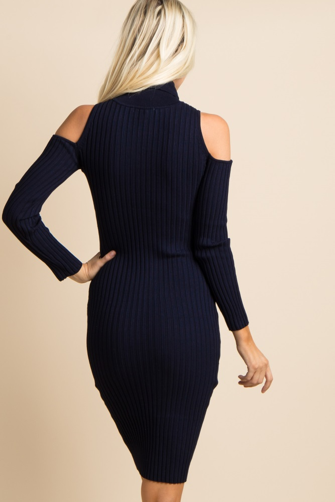 cf38d040748ab Navy Cold Shoulder Ribbed Fitted Maternity Dress