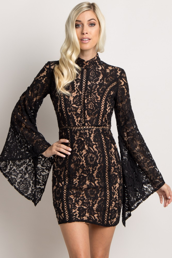 5fd198e6141 Black Lace Overlay Cutout Bell Sleeve Dress