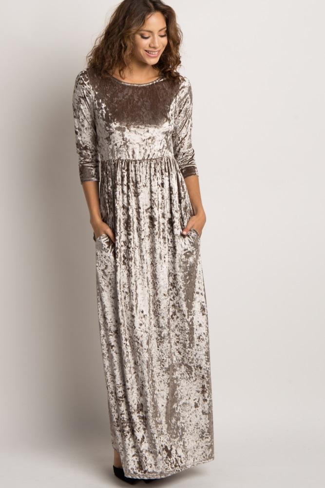 ed4b448374 Mocha Crushed Velvet 3 4 Sleeve Maternity Maxi Dress