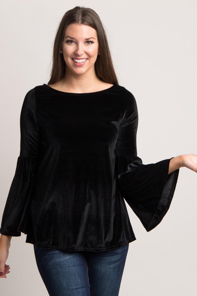 36ef5ae697e79 Black Velvet Bell Sleeve Open Back Maternity Top