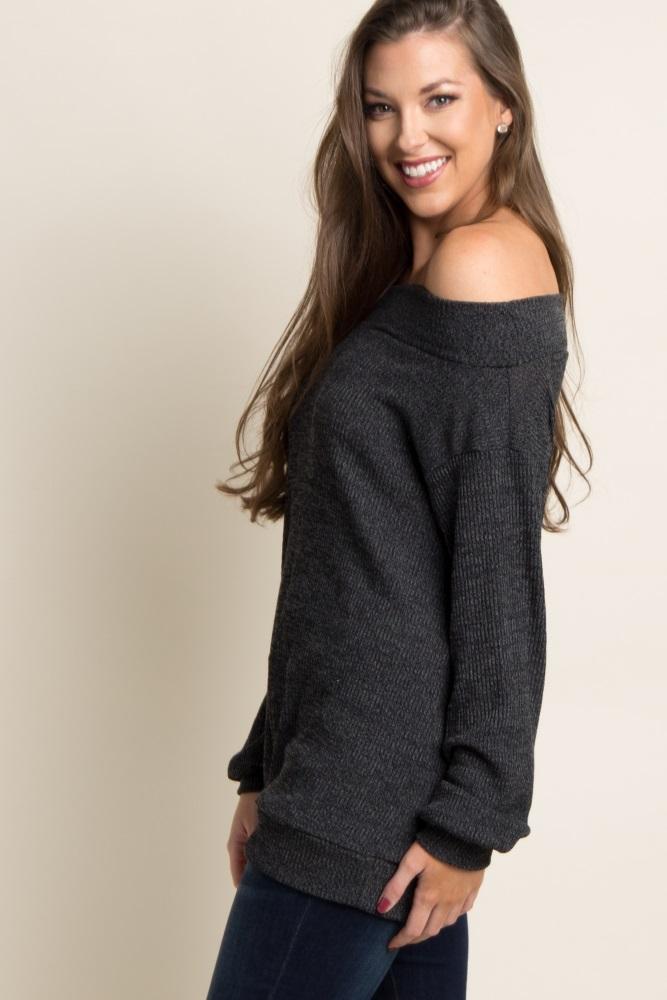 4eaabef13a464 Black Ribbed Off Shoulder Maternity Sweater