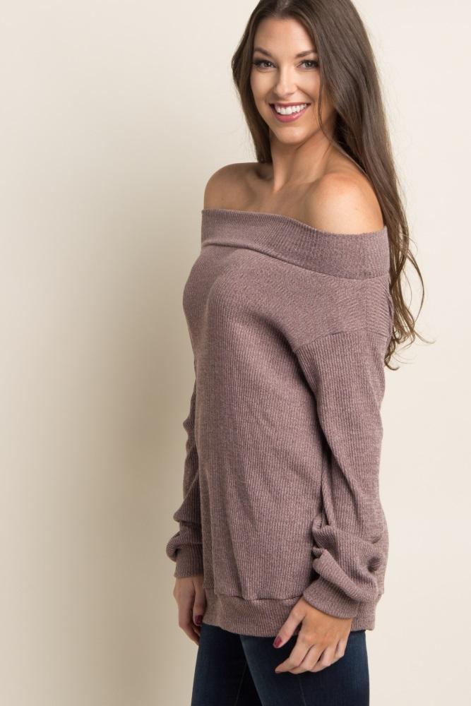 77fff16ff9274 Mauve Ribbed Off Shoulder Maternity Sweater
