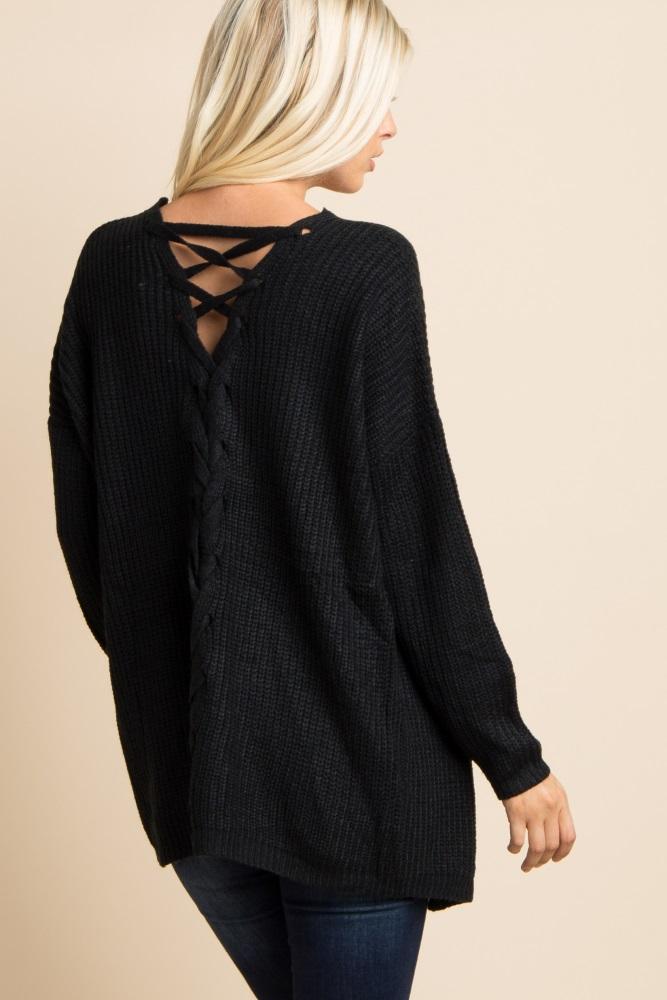 c9de30143d1a9 Black Knit Lace Up Back Maternity Cardigan