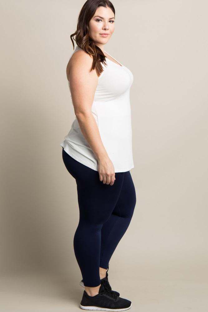 b723c0063af60 Navy Blue Basic Fleece Plus Maternity Leggings