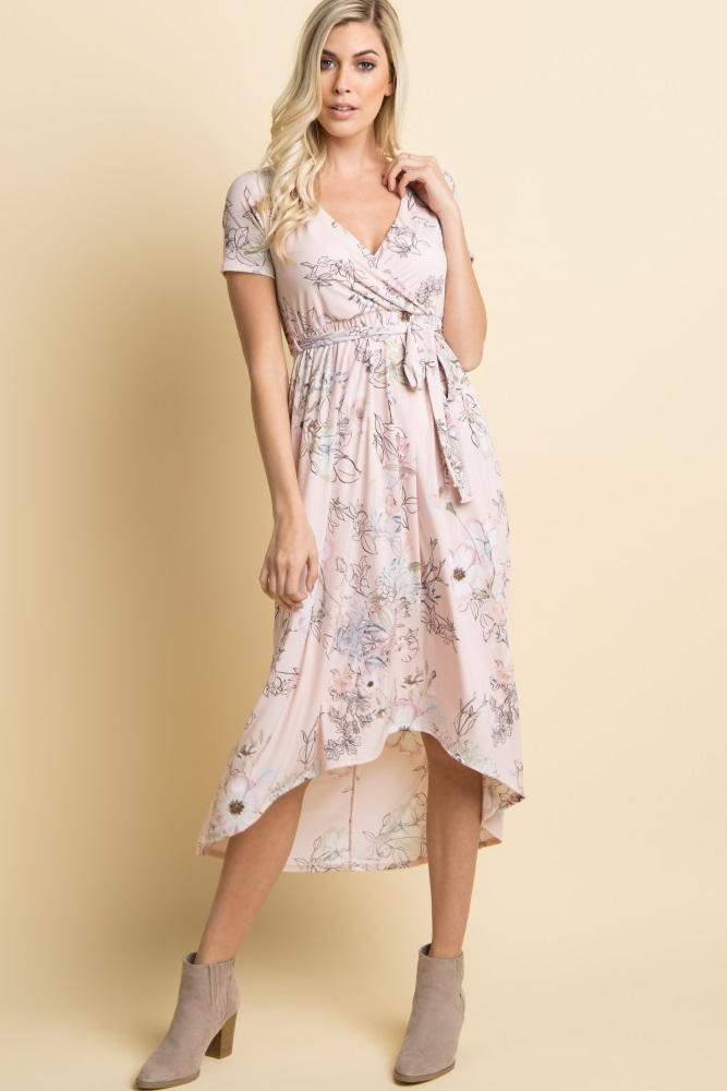 c6b6dd38ab1df Light Pink Floral Hi Low Maternity Wrap Dress