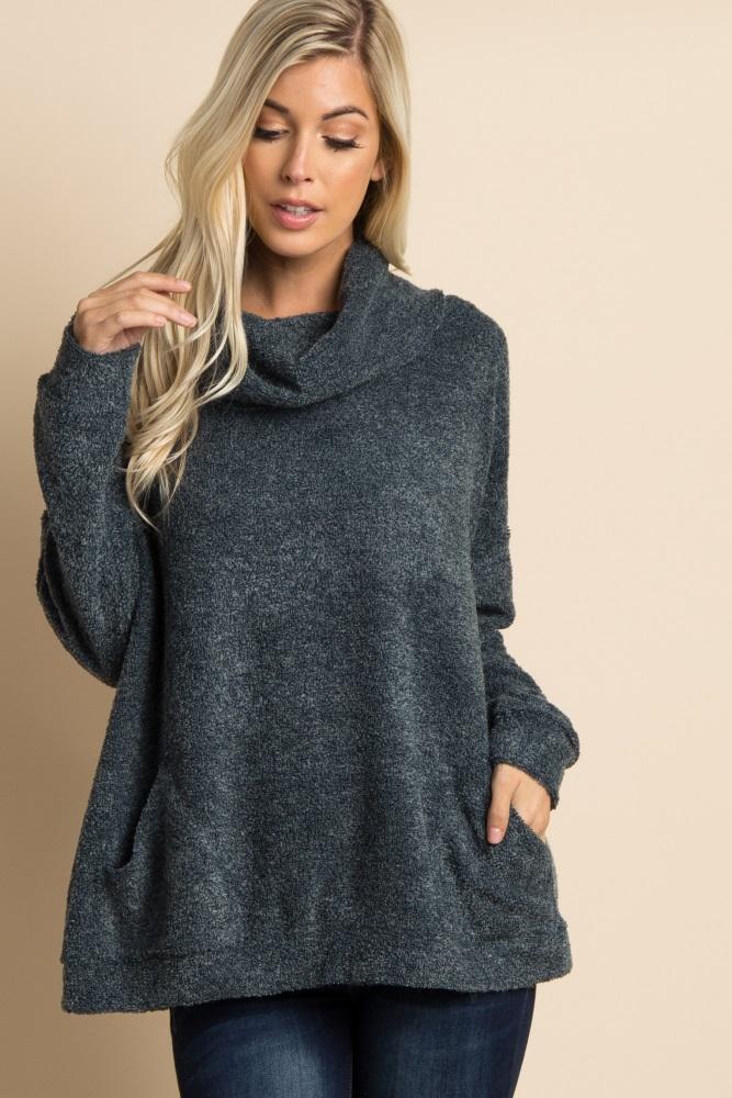 595e1b54360b Green Cowl Neck Terry Knit Maternity Sweater