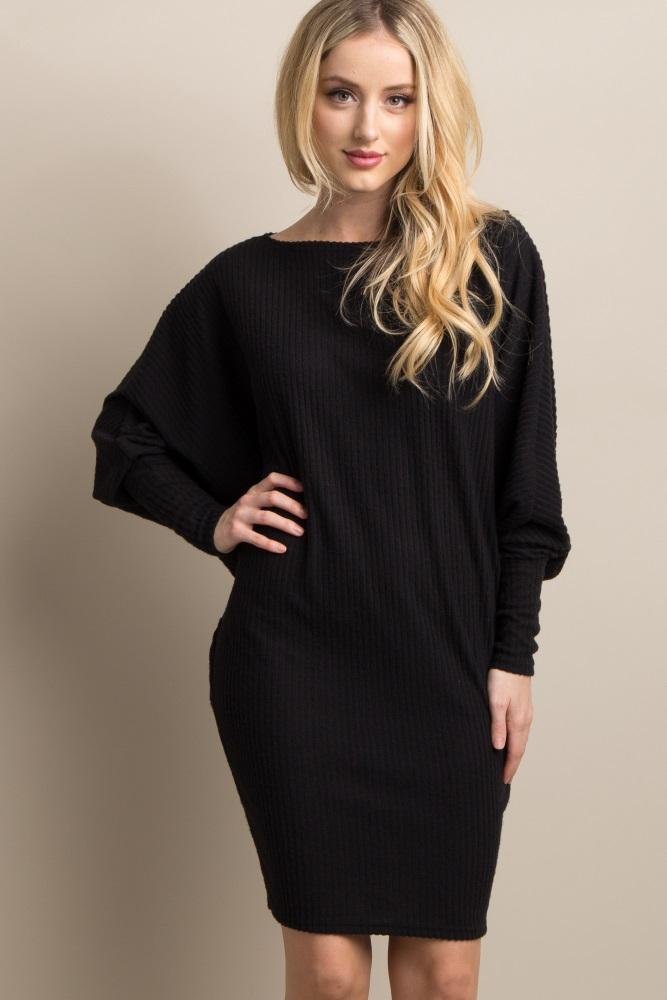 8843225f7b0 Black Solid Dolman Sleeve Ribbed Maternity Dress