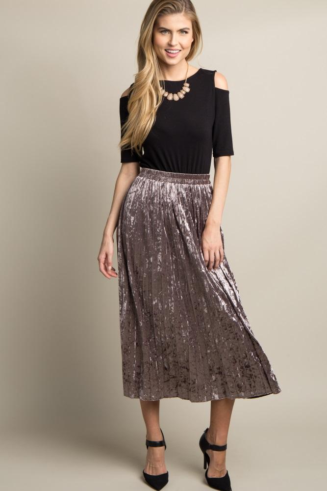 a2dda0a51e Mocha Crushed Velvet Pleated Maternity Midi Skirt