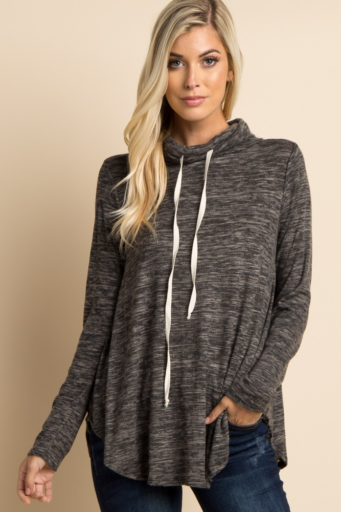 charcoal heathered drawstring cowl neck top