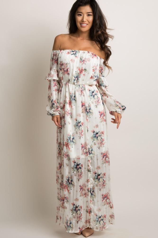 b1a8524c19c Ivory Floral Off Shoulder Maxi Dress
