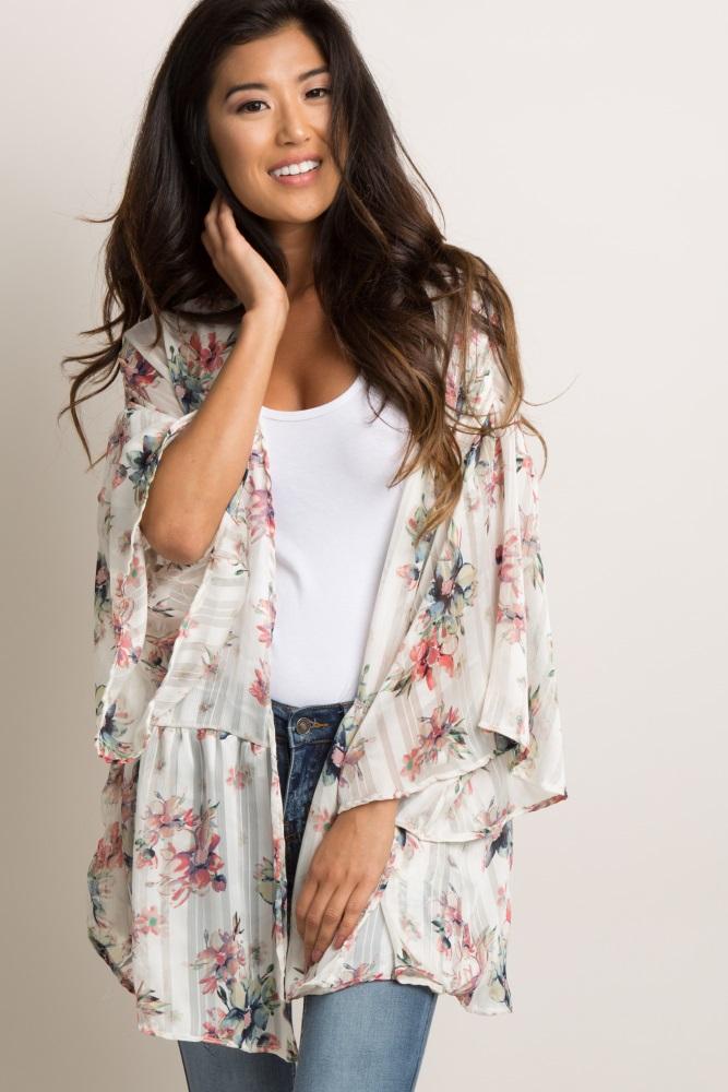 1f23062d908 Ivory Floral Chiffon Peplum Maternity Kimono