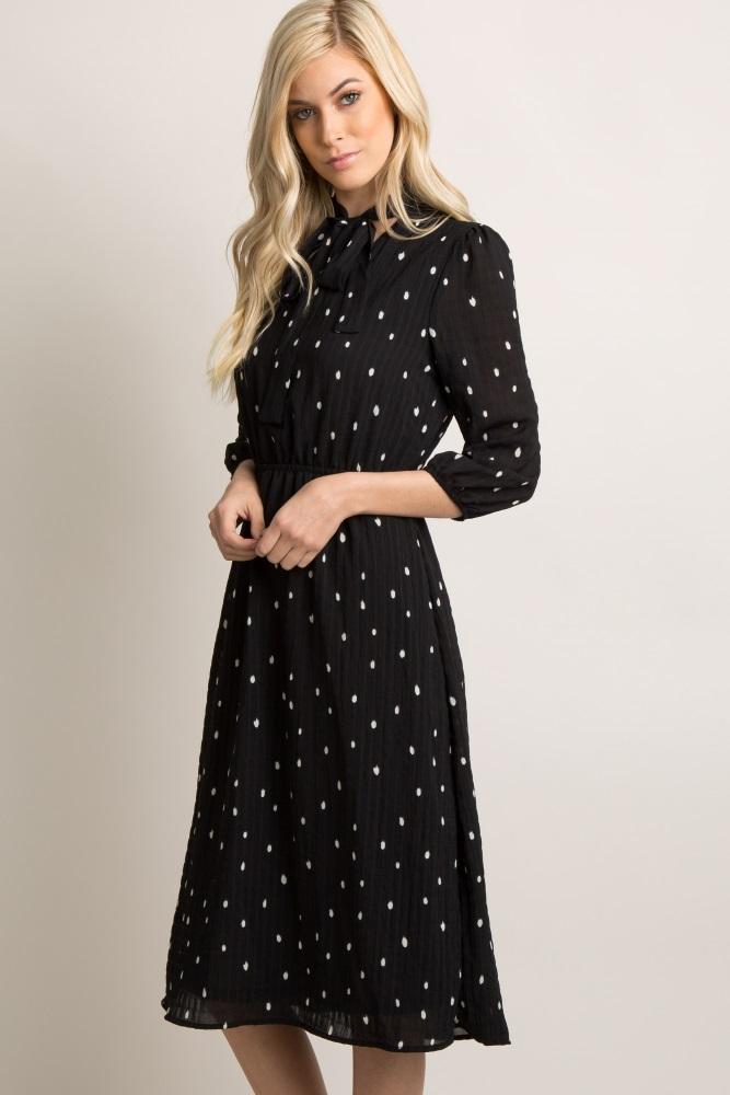 fc4c8549e18 Black Polka Dot Cutout Tie Maternity Midi Dress