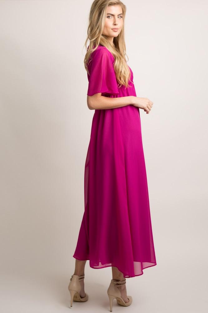 6805971d9abf Magenta Chiffon Bell Sleeve Maternity Maxi Dress