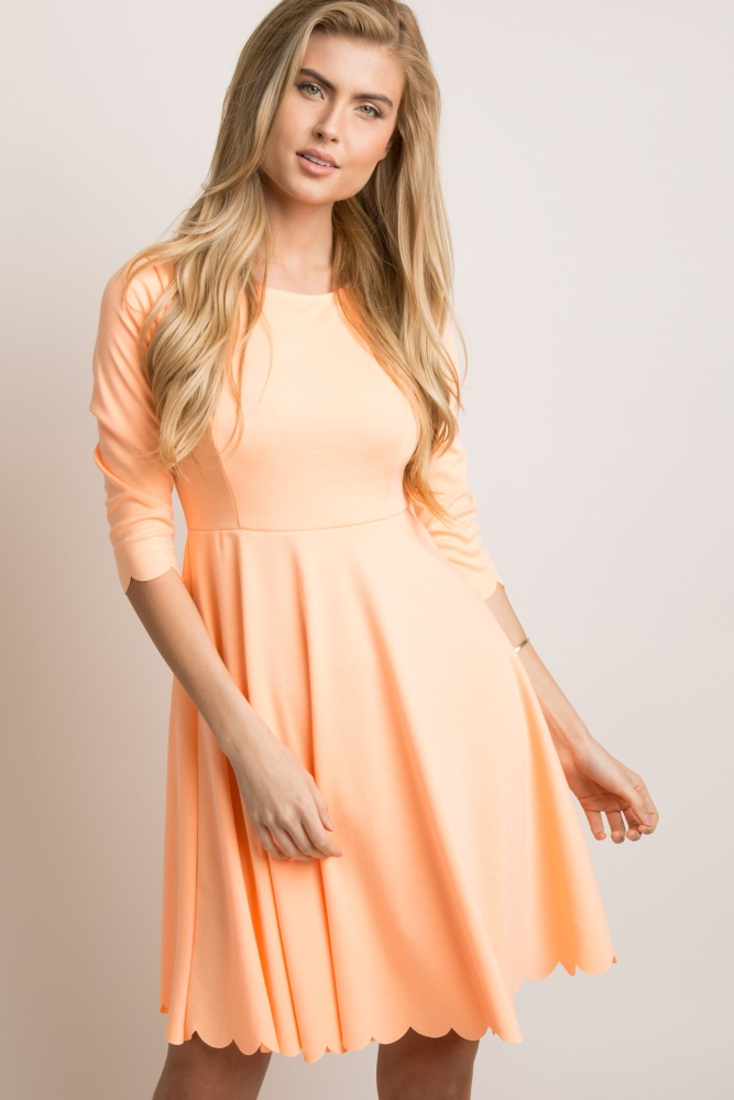 5de4e832a3 Orange Scalloped Hem Maternity Dress