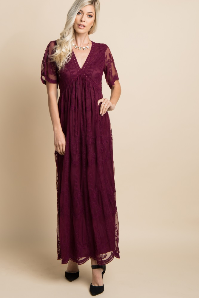 8bb6028a7ded6 Burgundy Lace Mesh Overlay Maternity Maxi Dress