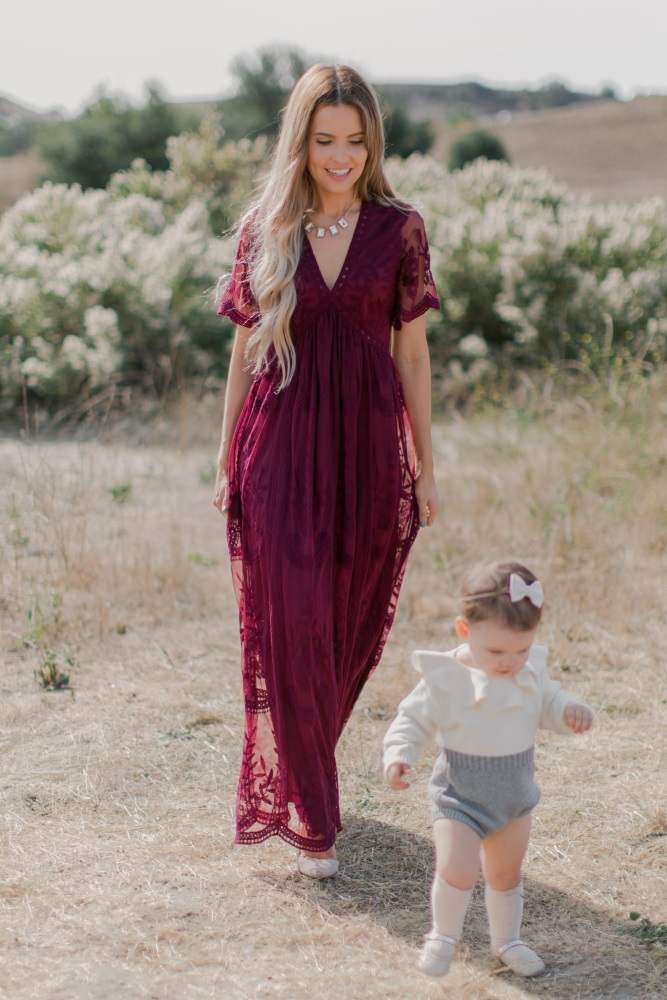 98e65695d54f7 Burgundy Lace Mesh Overlay Maternity Maxi Dress