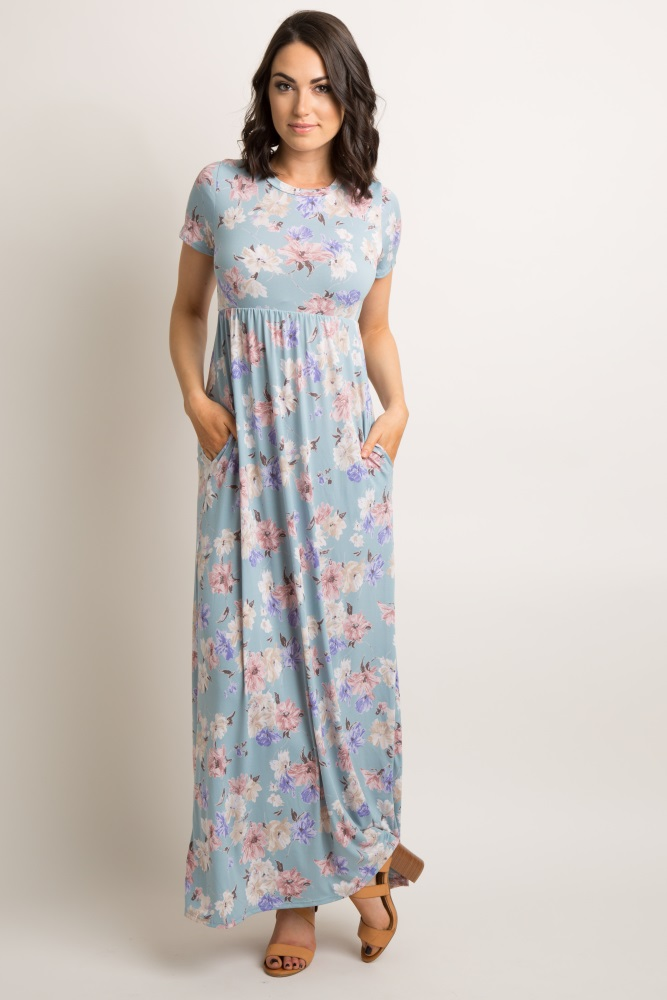 55480b7a48973 Light Blue Floral Print Short Sleeve Maternity Maxi Dress