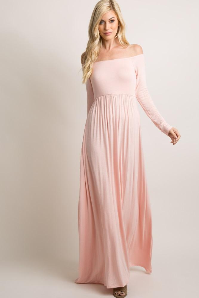 1c57bfb13cc05 Pink Solid Off Shoulder Maternity Maxi Dress