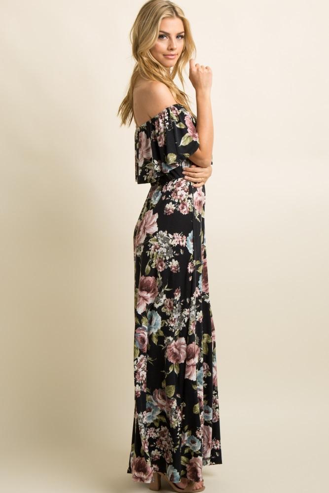 36452c2886fe Black Floral Ruffle Trim Off Shoulder Maternity Maxi Dress