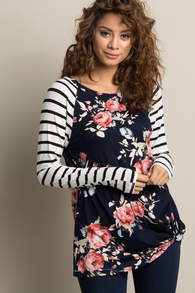 ef6dbbeff89c2 Navy Blue Floral Striped Sleeve Maternity Knot Top