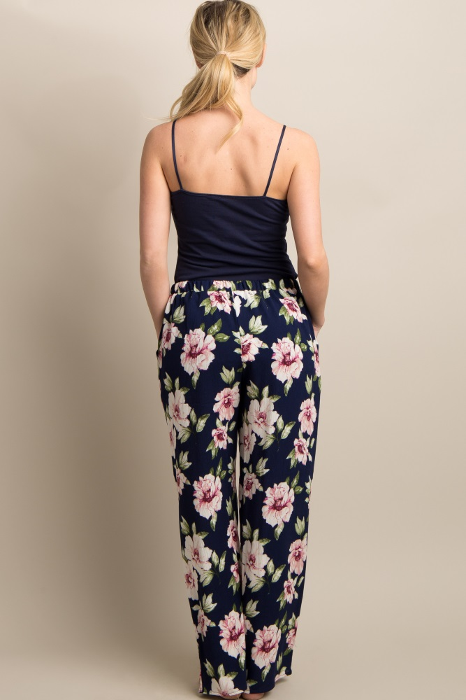 7f48857c7b47c Navy Blue Floral Print Maternity Lounge Pants