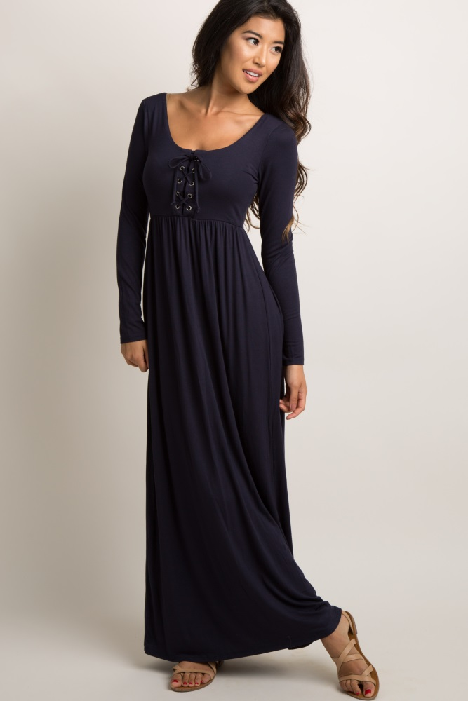 24c667cea3c4f Navy Blue Solid Lace Up Maternity Maxi Dress
