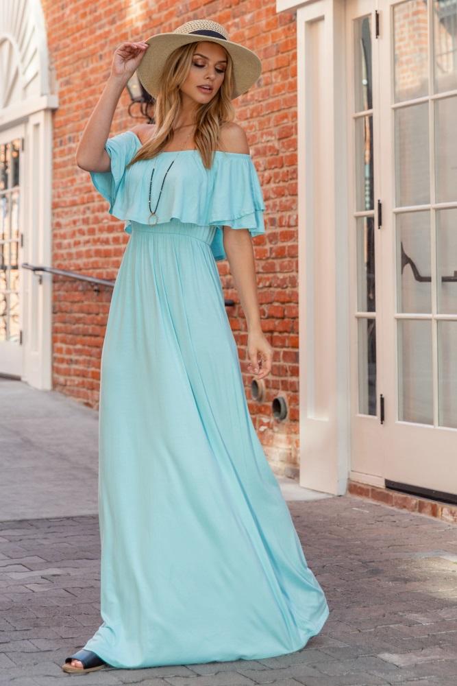bbf57be8e3f Light Blue Off Shoulder Ruffle Trim Maternity Maxi Dress