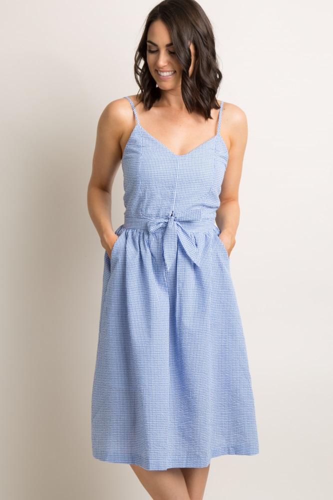 229eee4df Blue Gingham Print Tie Front Midi Dress
