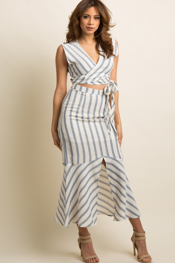 481ad0653c5 Blue Striped Tie Front Midi Skirt Set