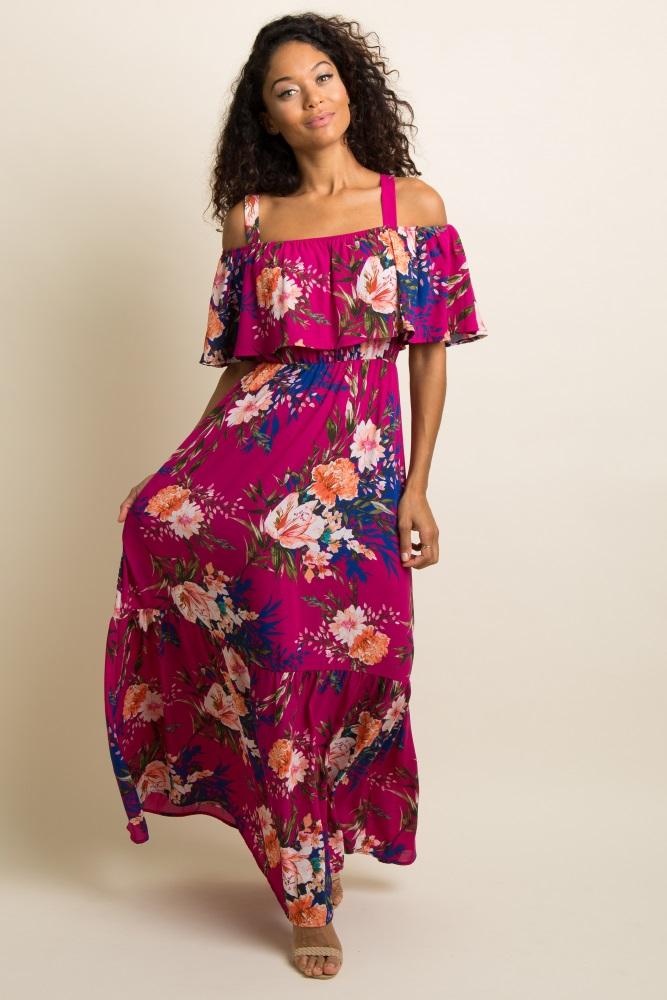a0a3ceaf764e9 Magenta Floral Ruffle Open Shoulder Maternity Maxi Dress
