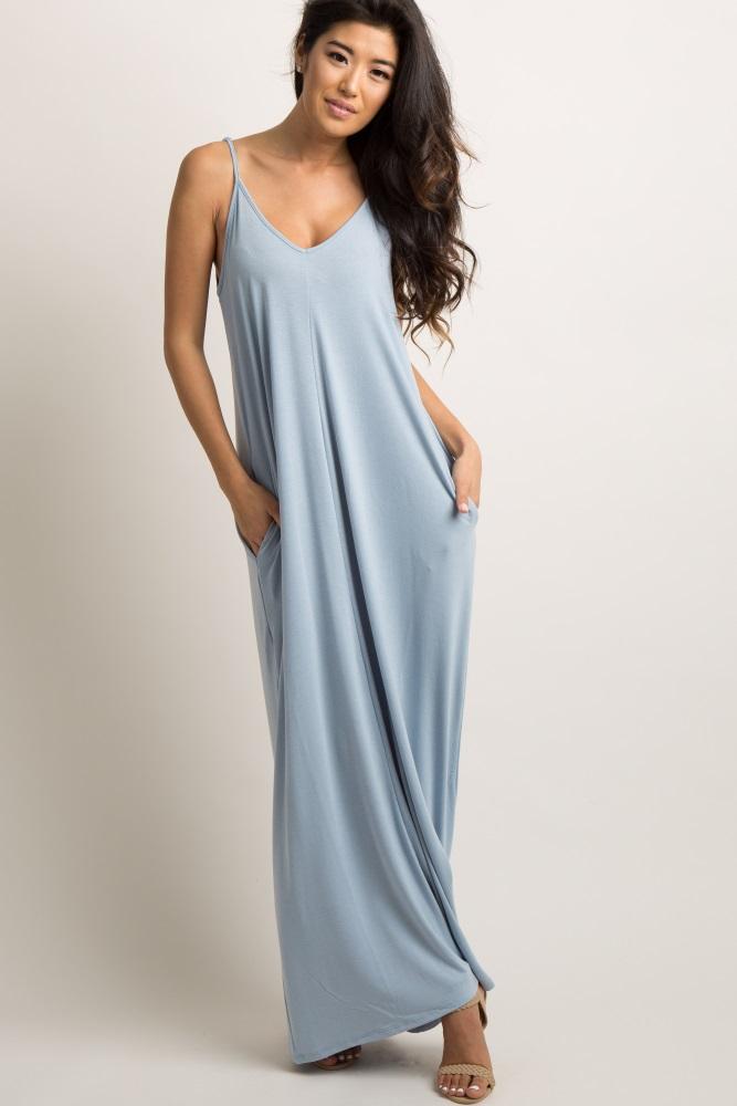 light blue solid cami maxi dress