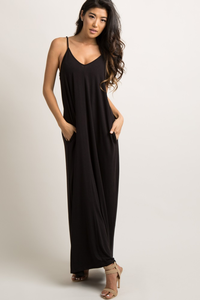 ae0624aa2908 Black Solid Cami Strap Maternity Maxi Dress
