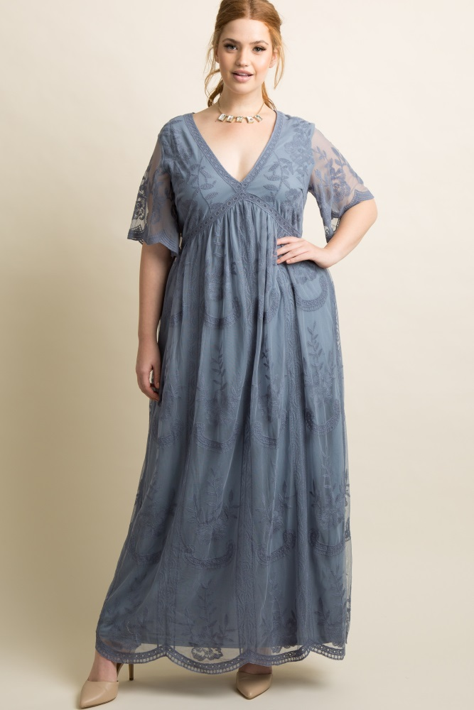 22315d4da716c Blue Lace Mesh Overlay Plus Maternity Maxi Dress
