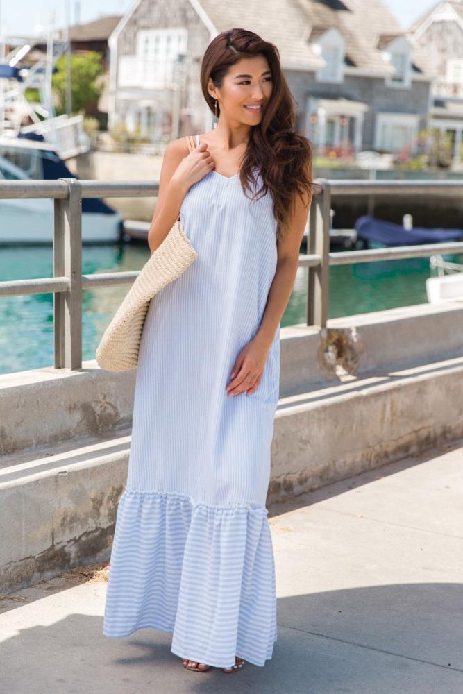 1e5751be345 Light Blue Pinstriped Ruffle Trim Maternity Maxi Dress