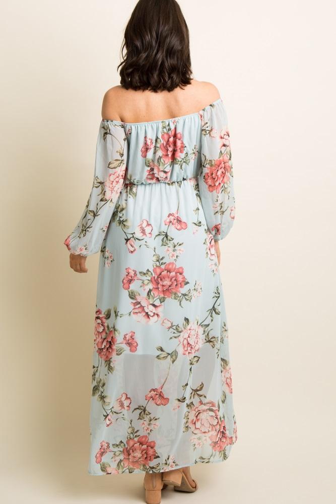 face1292c5 Light Blue Floral Chiffon Off Shoulder Maternity Maxi Dress