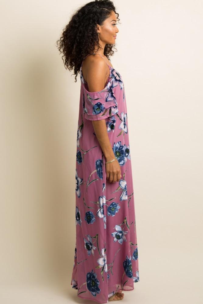 9130ef77f43 Mauve Floral Velvet Crisscross Back Maternity Maxi Dress