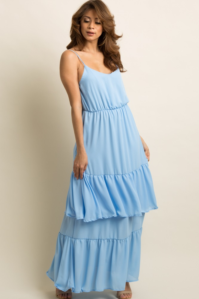 10be064714d Light Blue Chiffon Tiered Ruffle Trim Maternity Maxi Dress