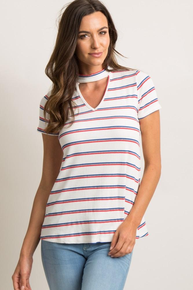 e1347061e0d97 Ivory Striped Ribbed Cutout Maternity Top