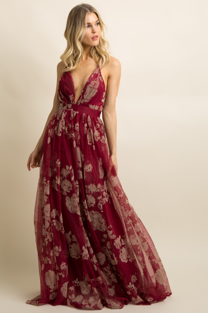 248e4074d0 Burgundy Floral Velvet Tulle Maternity Maxi Dress