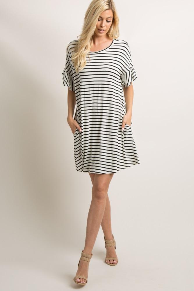 5988cbc611 Ivory Striped Layered Flounce Sleeve Maternity Swing Dress