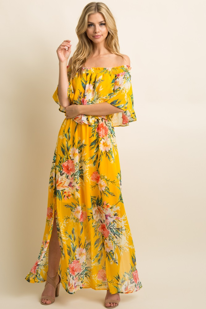 193bc4c44db Yellow Floral Chiffon Off Shoulder Ruffle Maternity Maxi Dress