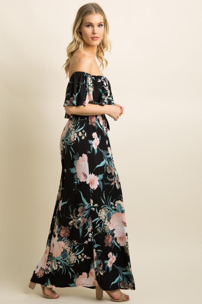 db3badc3df6d Black Floral Ruffle Off Shoulder Maternity Maxi Dress