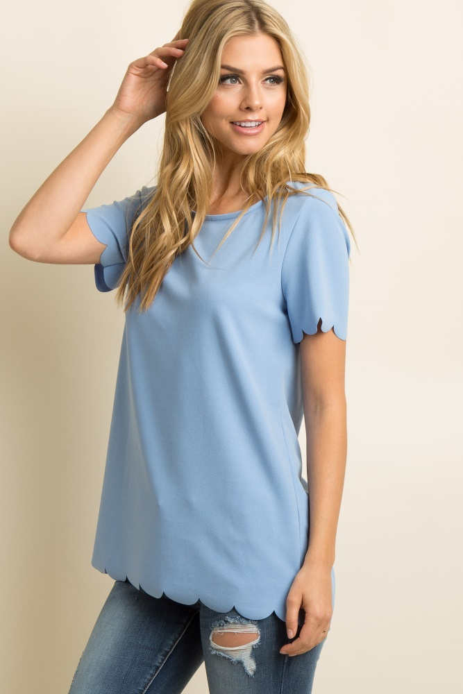 63a84186cd03f Light Blue Solid Scalloped Trim Maternity Top